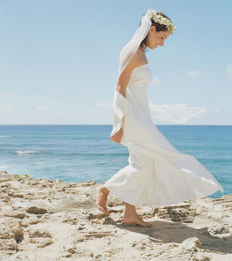 A bride on the beach.
