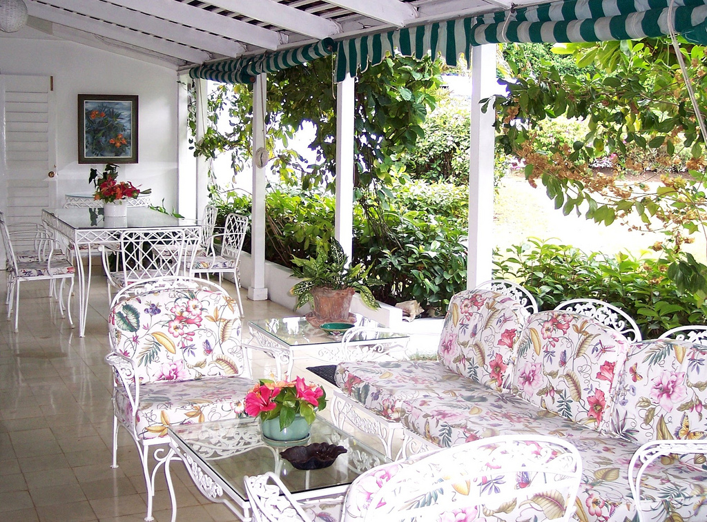 Heated pots of eye-opener Jamaican coffee are placed here early each morning before a full cooked breakfast is served.