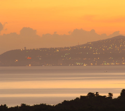 ... or when the east view is transformed by the lights of Montego Bay twinkling across the water ...