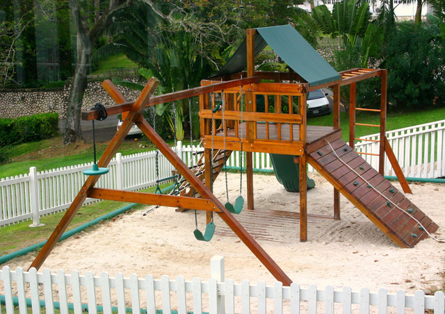 ... is the children's playground.  Mom, Dad. Grandma, Grandpa and kids can all work out in the same place at the same time!