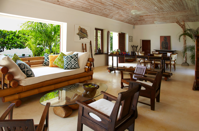 Custom-crafted furniture sets the special style and Caribbean character of this iconic home.