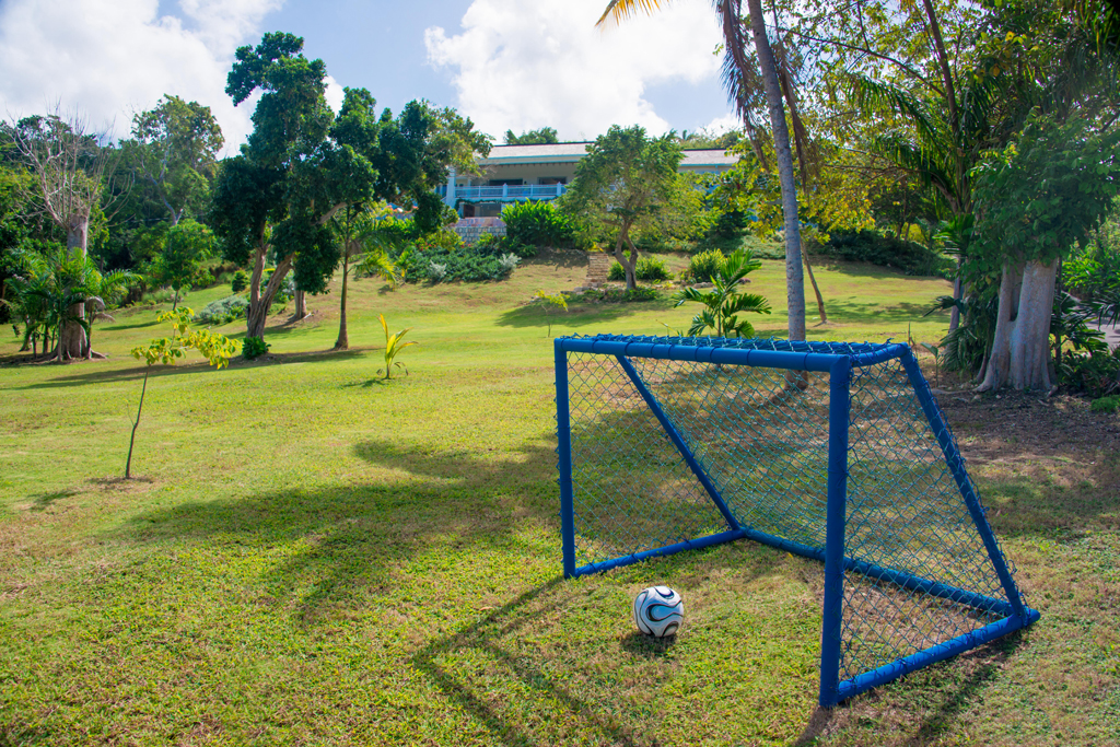 At the foot of the hill is the kids' games area and even a soccer goal.