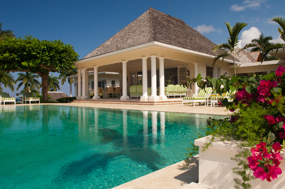 From the verandah and irresistible long pool ...