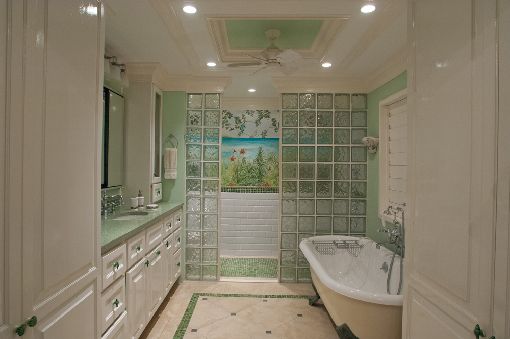 In additional to a large walk-in shower, an old-time claw-foot tub is is appreciated by  parents and nannies for bathing youngsters.