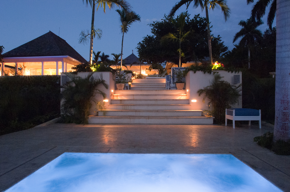 But the evening doesn't end there.  After dinner, wander down lit stone steps to Jacuzzi terrace ...