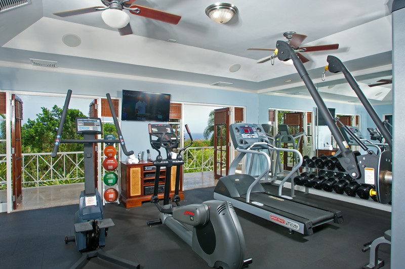The air-conditioned gym includes a treadmill, universal, step-up, elliptical,  bench, weights, power balls, drinks fridge and bathroom with shower.