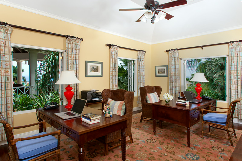 The Master Suite also houses a large air-conditioned office for two with adjoining powder room.