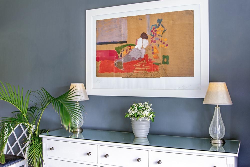 Interior design is exquisite.  Charcoal walls ...