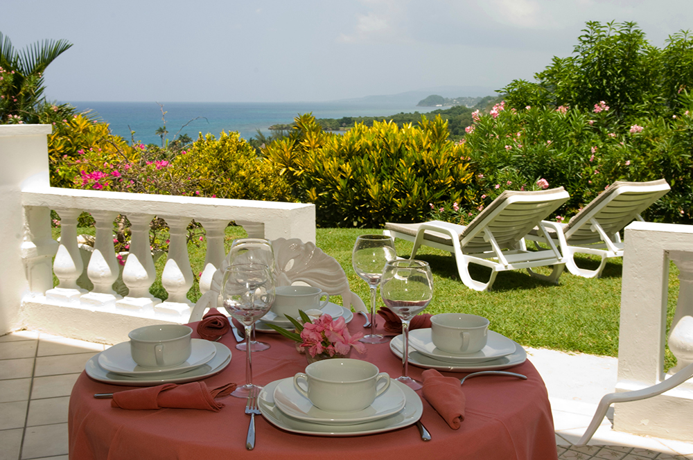 The terrace provides an al fresco dining spot, bordered with flowering hedgerows.