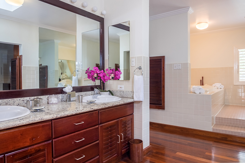 En-suite bathroom with dressing room, walk-in shower and large tub open to the master bedroom.