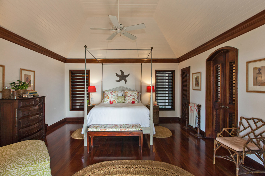 East Wing Bedroom 5 - 375 sq ft This queensize bedroom is adjacent to 2nd Master Bedroom.  Its en-suite bathroom has a large open walk-in shower with rainfall and hand-held shower-heads and