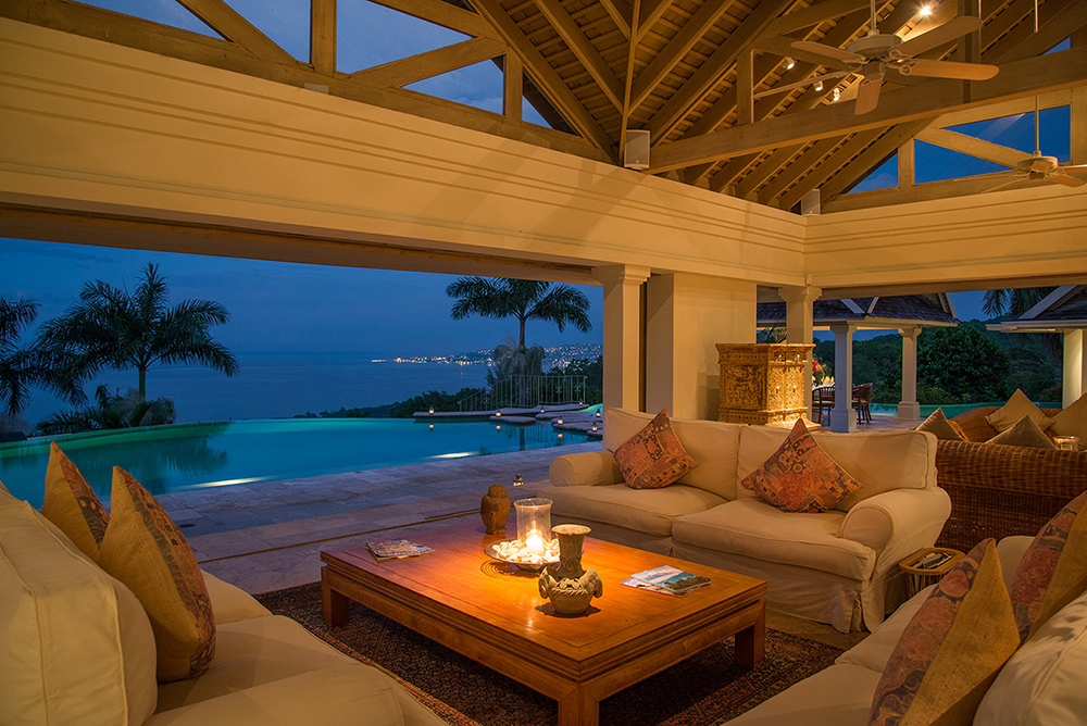 Pavilion at dusk with view of Montego Bay