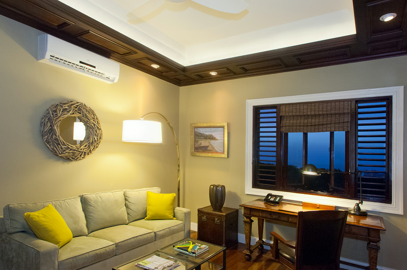 The small STUDY has a queen sofabed, desk, bathroom with glass shower and very blue sea view.