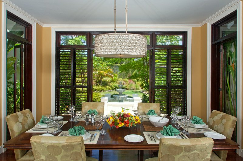 Or dine inside by a window wall open to a garden.