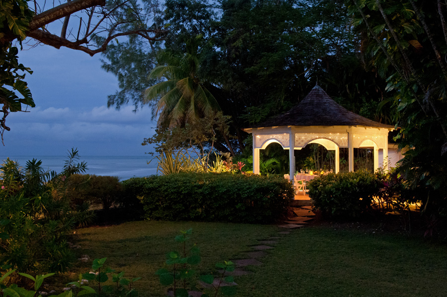 Lunch and dinner can be served in the seaside gazebo just a few steps from the pool.