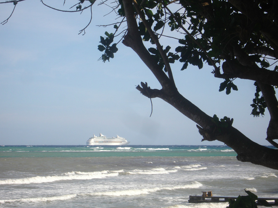 If you're in the gazebo or on the beach around 6 p.m. some evenings, catch a glimpse of today's cruise ship heading out to sea from the MoBay Freeport harbor. (All those passengers wish they